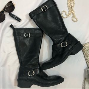 BORN leather boots black 7 moto